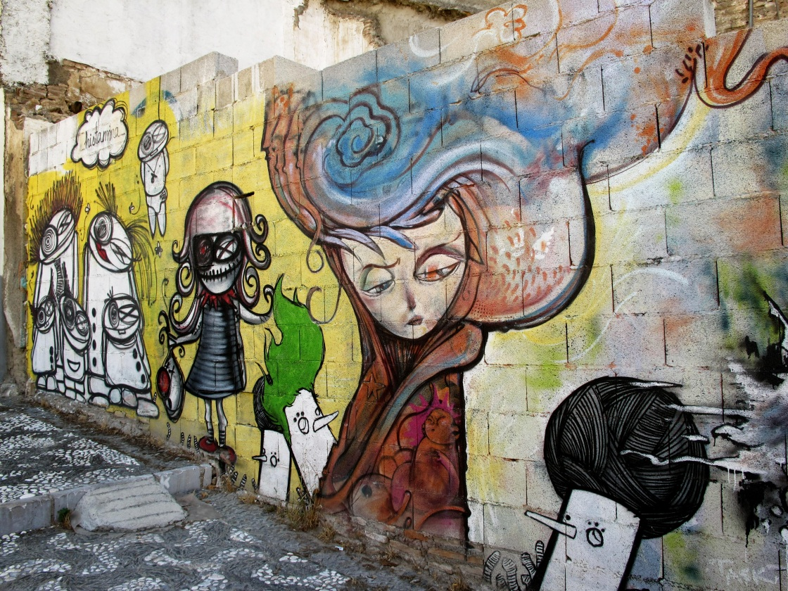 Alleyway Art Above Plaza Nueva, Granada.