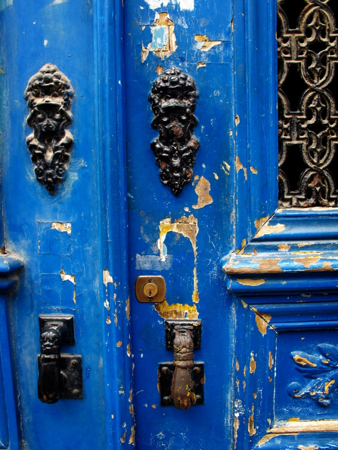 A blue door in the Alfama district of Lisbon, Portugal.
