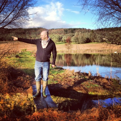 My husband in wellies. Brahan Estate, Scotland.