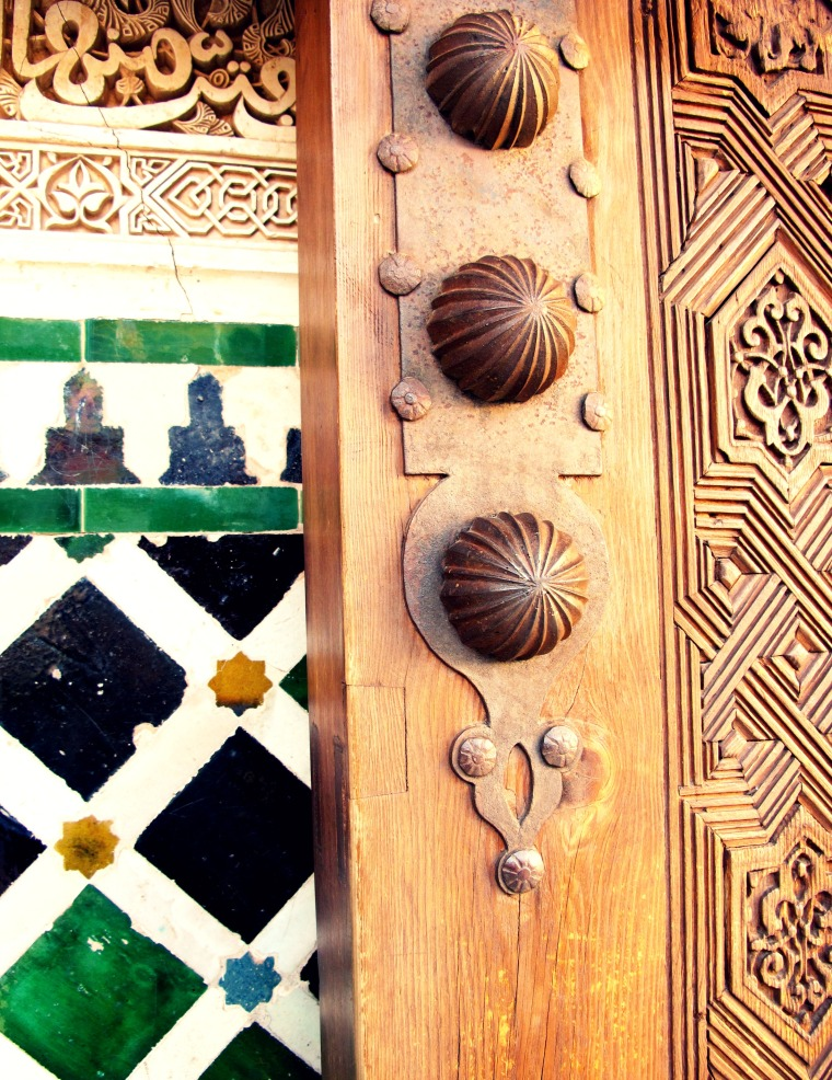 A detail of a door at the Alhambra Palace, Granada, Spain.