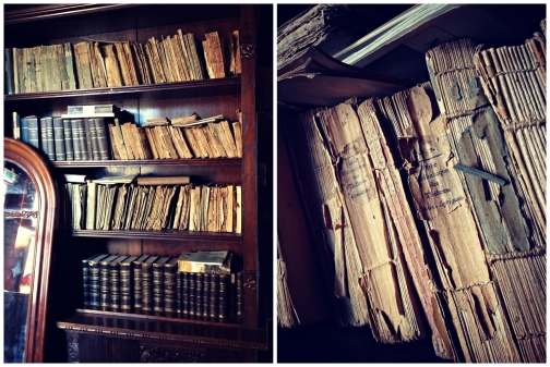 Old books at Rockelstad Castle.