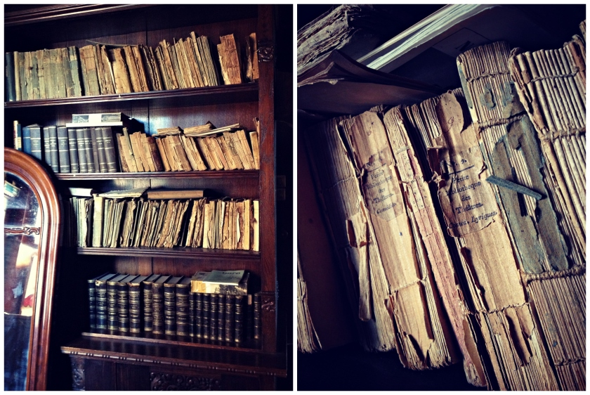 Old books at Rockelstad Castle.