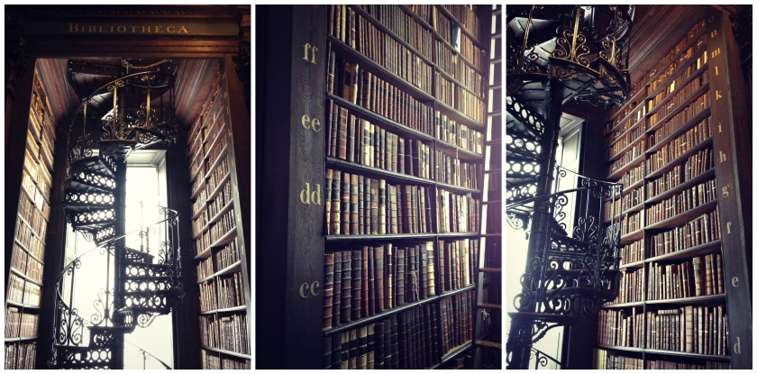 A stunning spiral staircase and lots of books at Trinity College's library.