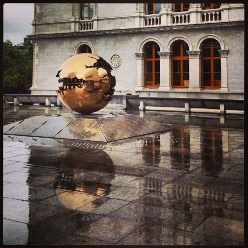 Arnaldo Pomodoro's sculpture in a library courtyard at Trinity College.