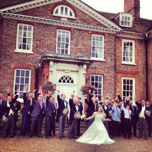 The bride with the males. Lenham, Kent.