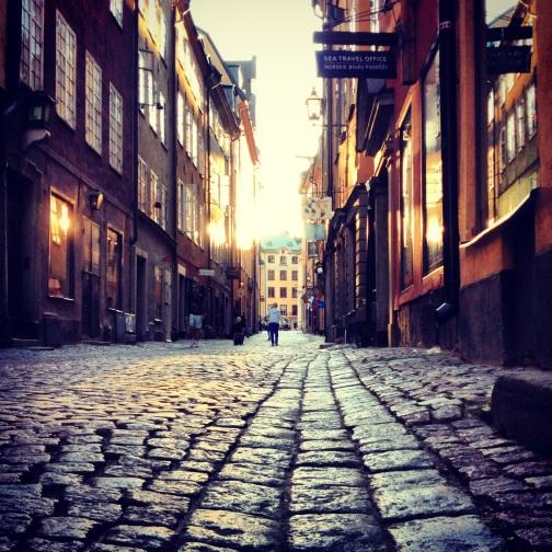 Cobblestone street in Stockholm.