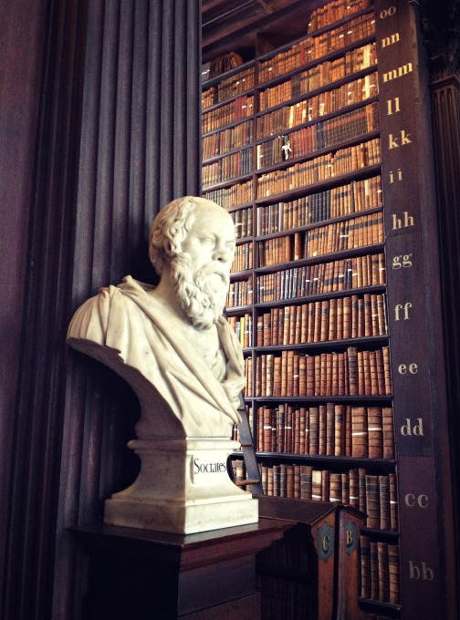 Socrates among old books at Trinity College.