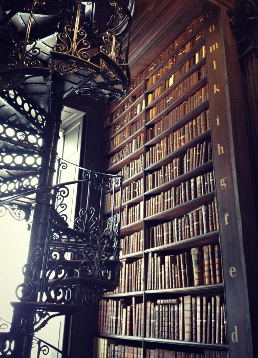Spiral staircase in the Long Room of Trinity College's library.
