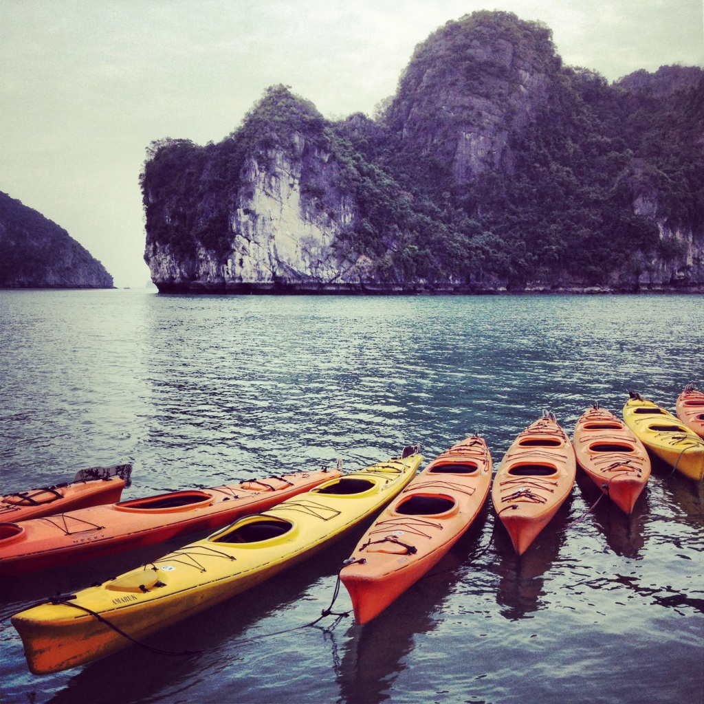 Kayaks on Halong Bay