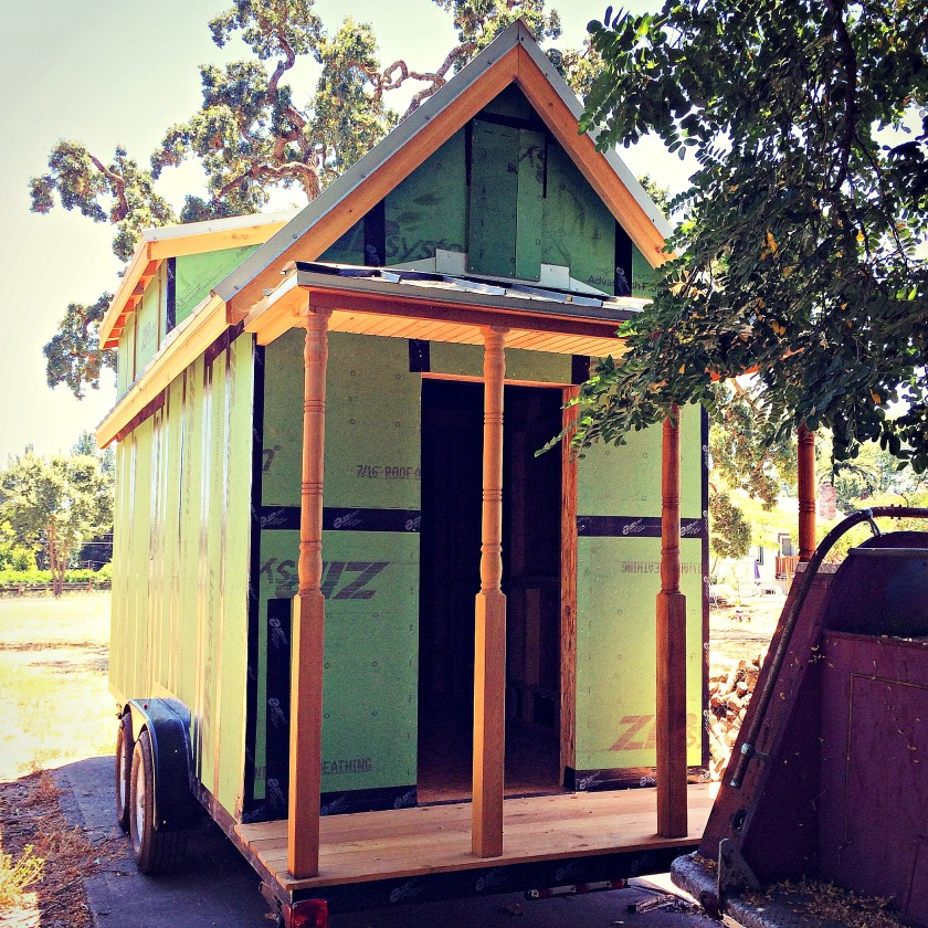 Our tiny house, sitting in a yard in Sonoma County.