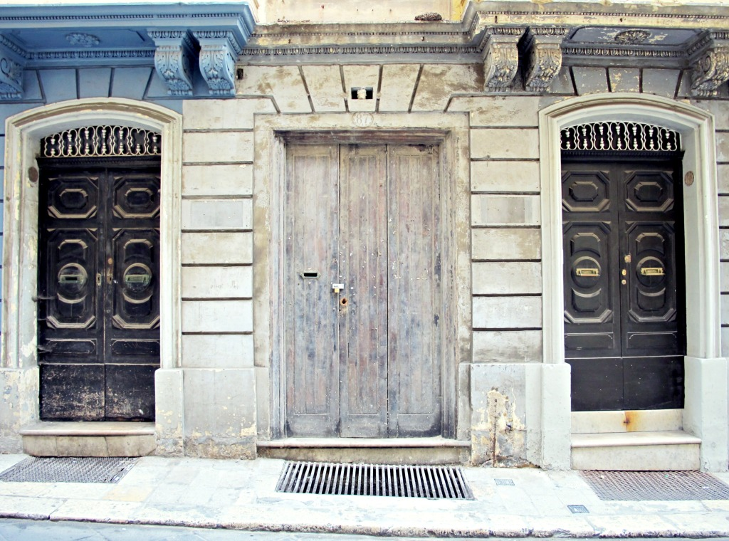 A pair of doors in Valletta, Malta.
