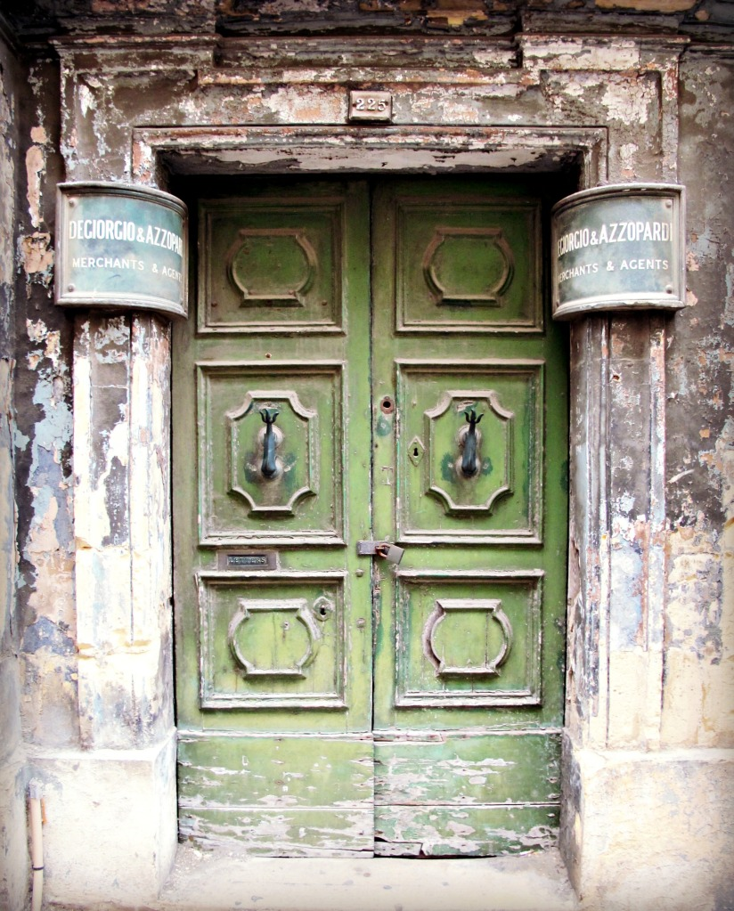Old green door in Valletta