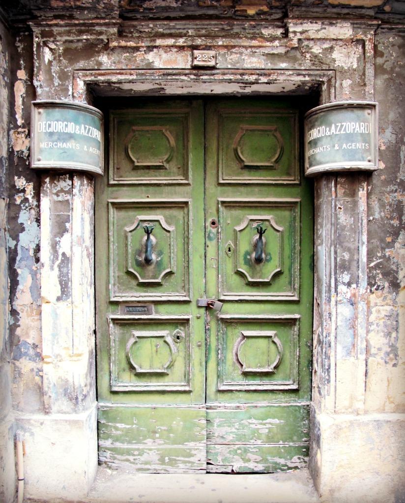Old green door in Valletta