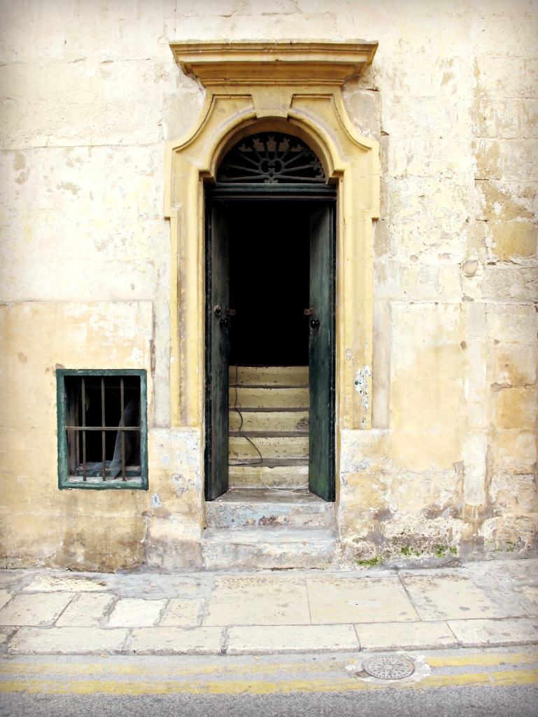 Open green door