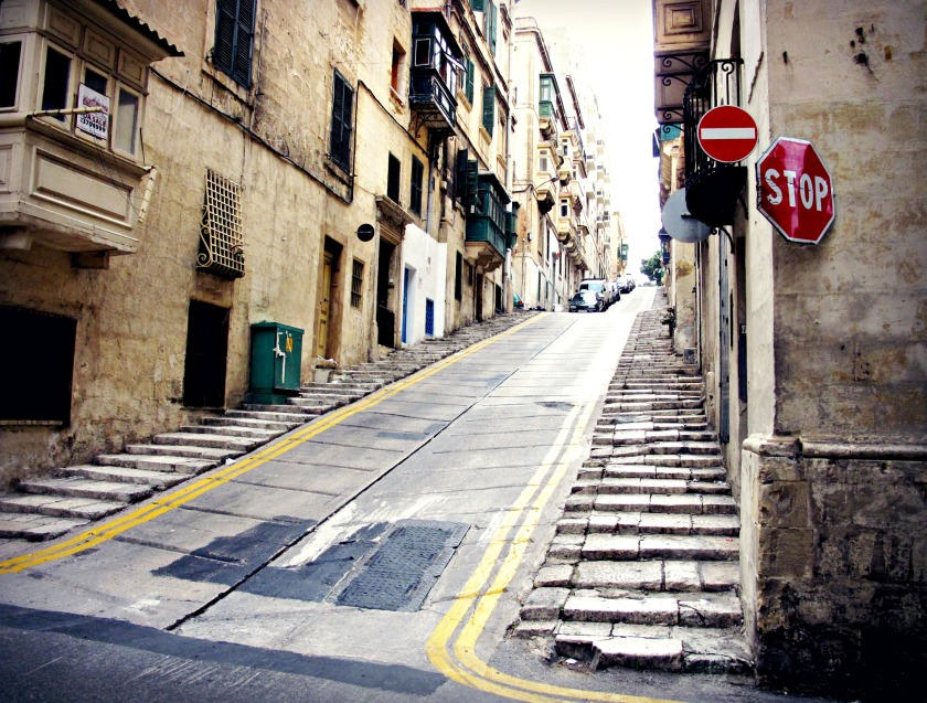 Sloped street in Valletta