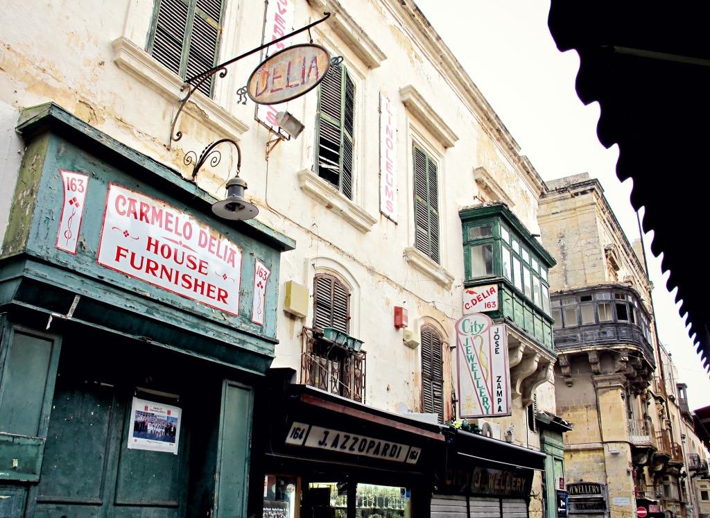 Storefronts in Valletta