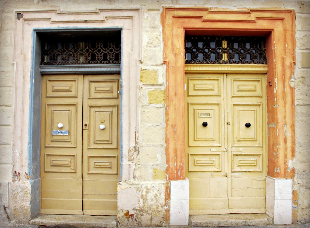 A pair of powder-framed doors