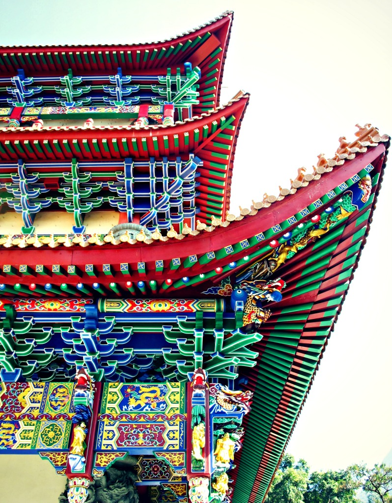 The colorful, intricate details at Po Lin Monastery on Lantau Island.