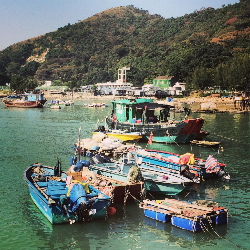 Boats at Tai O fishing village on Lantau Island.