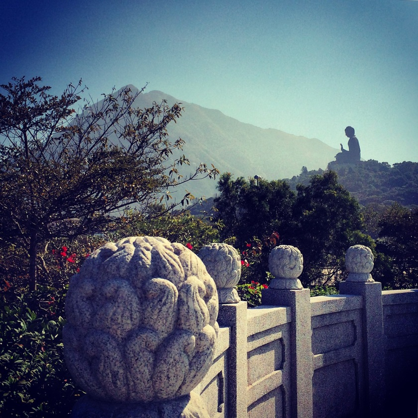 View of the Big Buddha on Lantau Island.