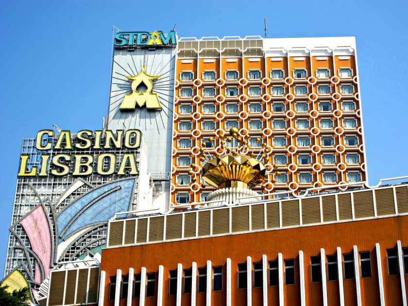 The famous Casino Lisboa was built in the 1960s. It stands between the Grand Lisboa and the much newer Wynn Casino.
