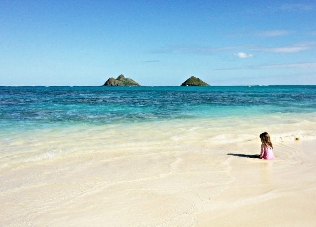 The view of the Mokulua Islands, about a mile off shore, from Lanikai Beach.