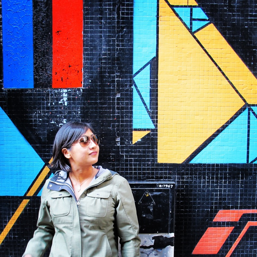 Geometric art on a street not far from the Ruins of St. Paul's. (Photo by Nick Rowlands.)