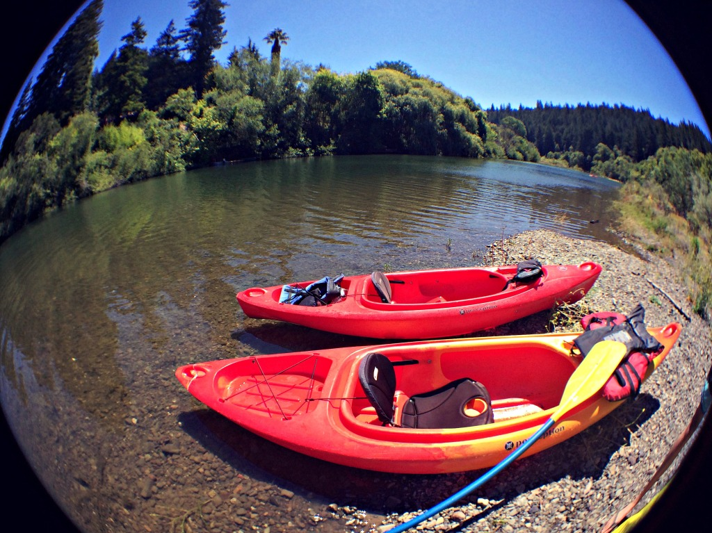 A shot of our rented kayaks on the Russian River in Northern California, when we paddled in July 2014.