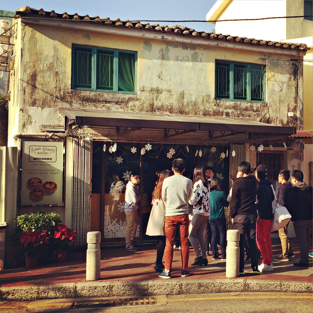 The queue outside of Lord Stow's Bakery, home of Macau's famous egg tart, just off Coloane's town square.