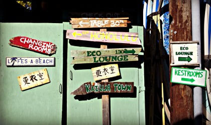 Signage at Kailua Beach Adventures, where we rented our paddleboards.