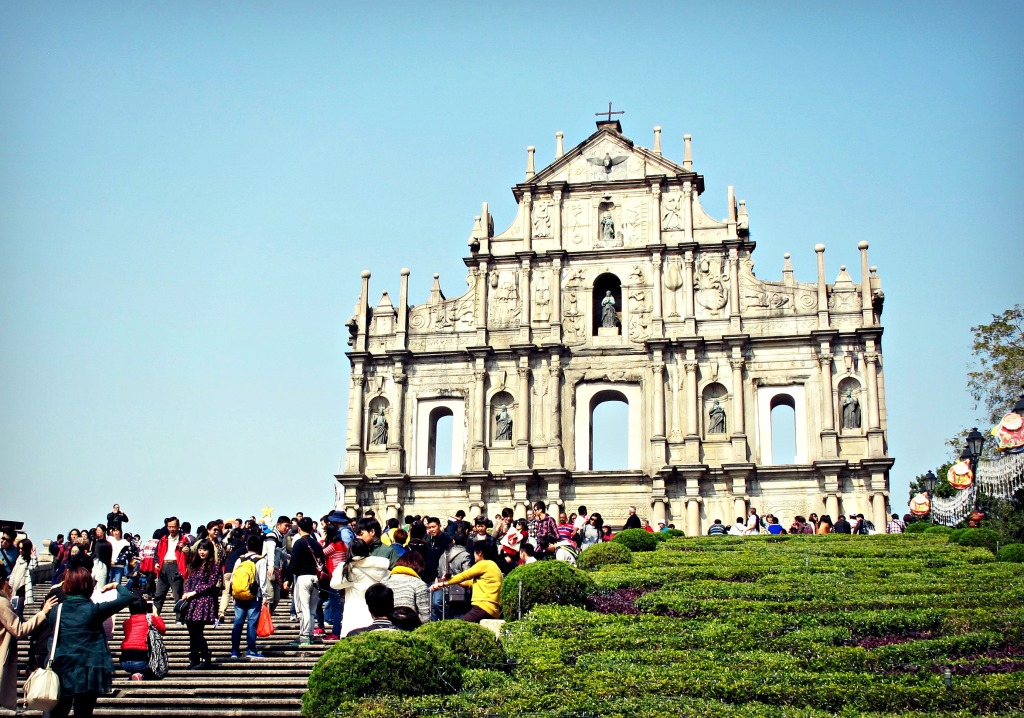 Ruins of St. Paul's, from the 16th century, in the old town of Macau.