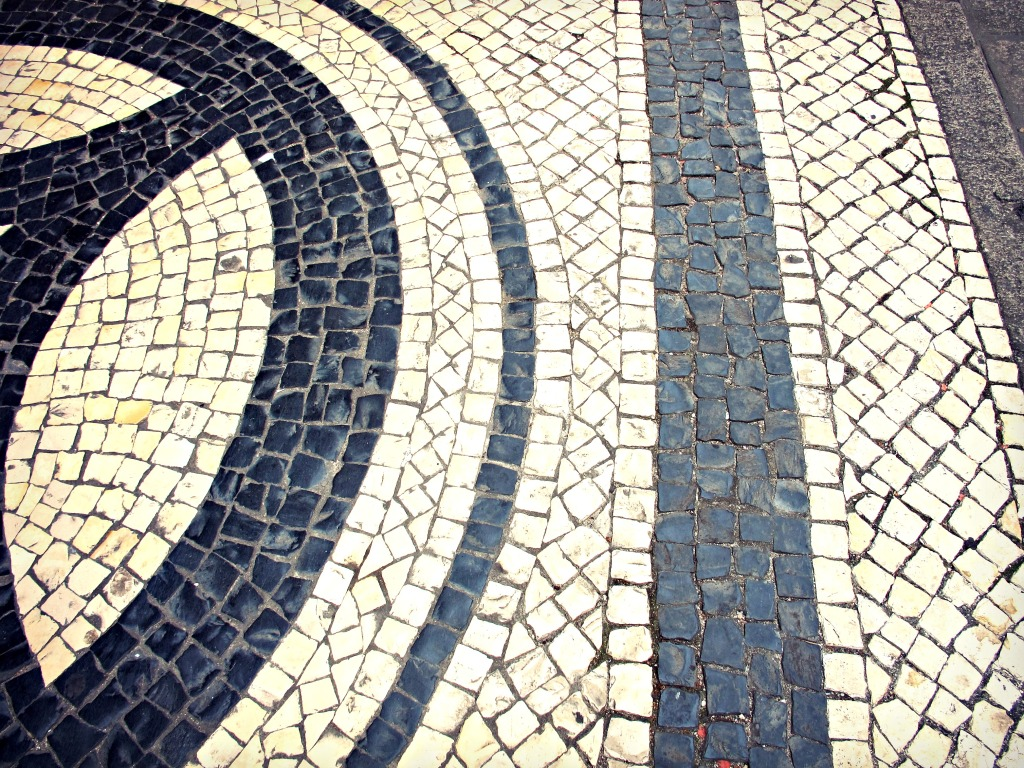 Smoothed Portuguese pavement in the historic center of Macau.
