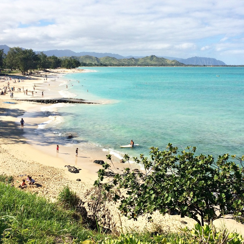 A view of Kailua Beach from above, as the road slopes up into Lanikai.