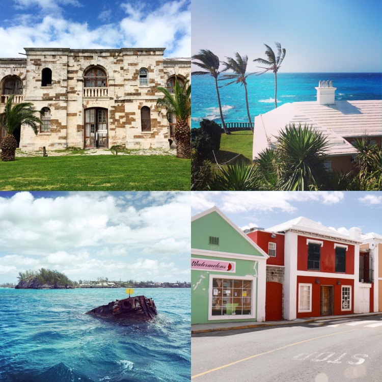 Clockwise from top left: Royal Naval Dockyard, rooftop of our cottage at the Reefs, street in St. George's, and the Vixen shipwreck.