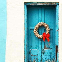 A bright blue door in the town of St. George's, Bermuda.