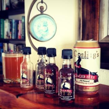 DIY Dark 'n Stormy ingredients in the cottage bar.