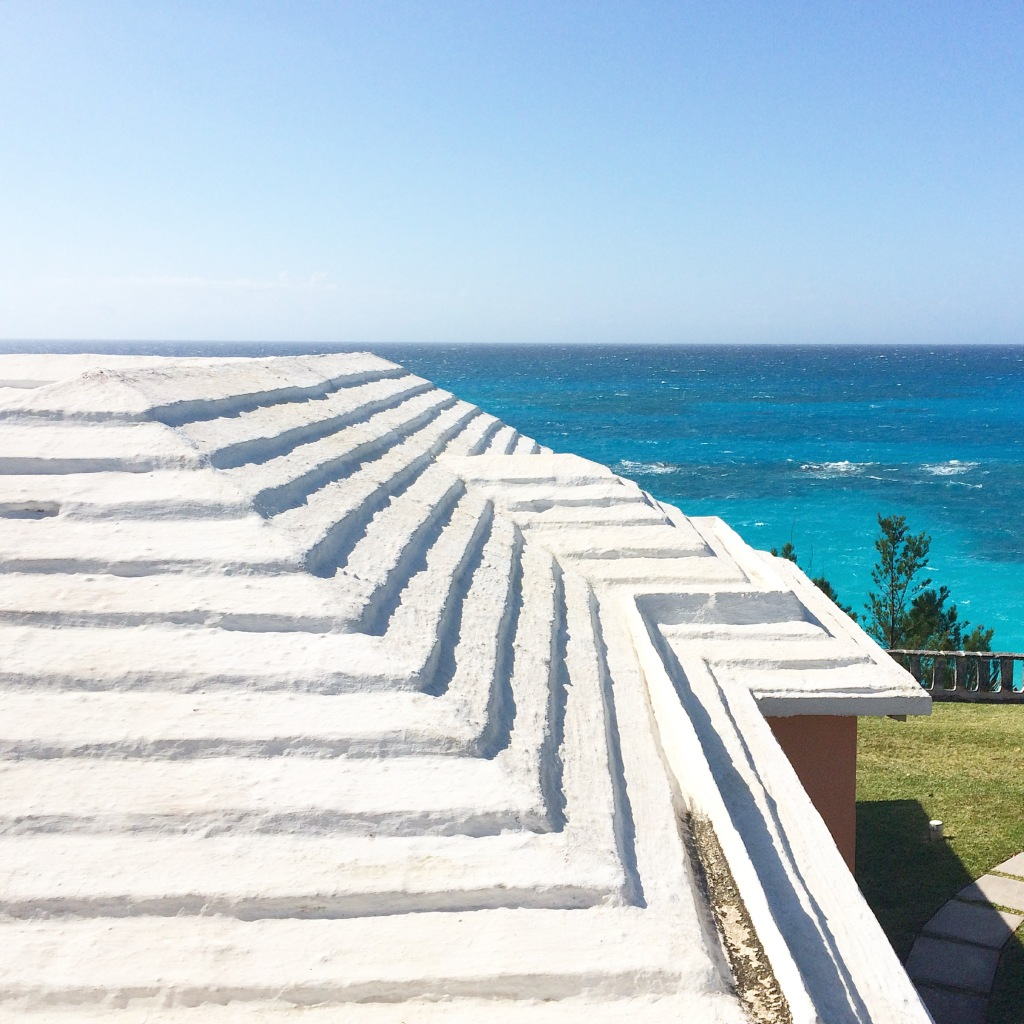 The typical Bermudian limestone roof: white and stepped.