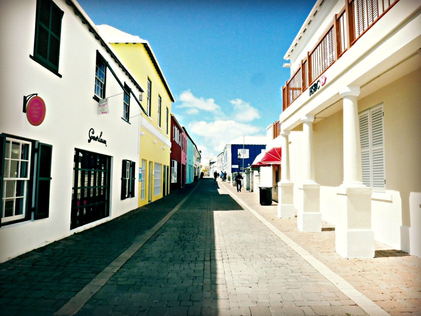 A colorful street in St. George's.