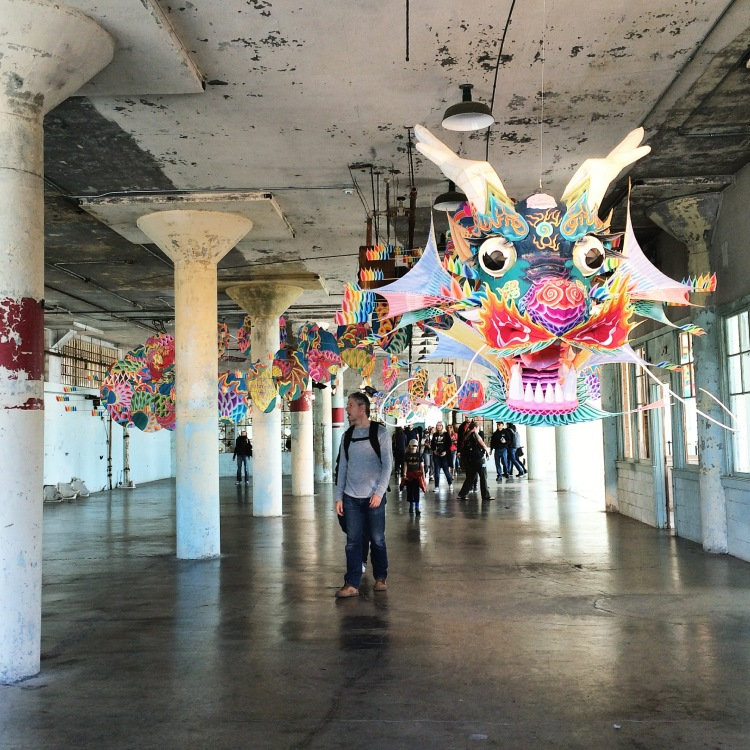 "The dragon head of a massive kite, encountered right at the main entrance of the ""With Wind"" installation."