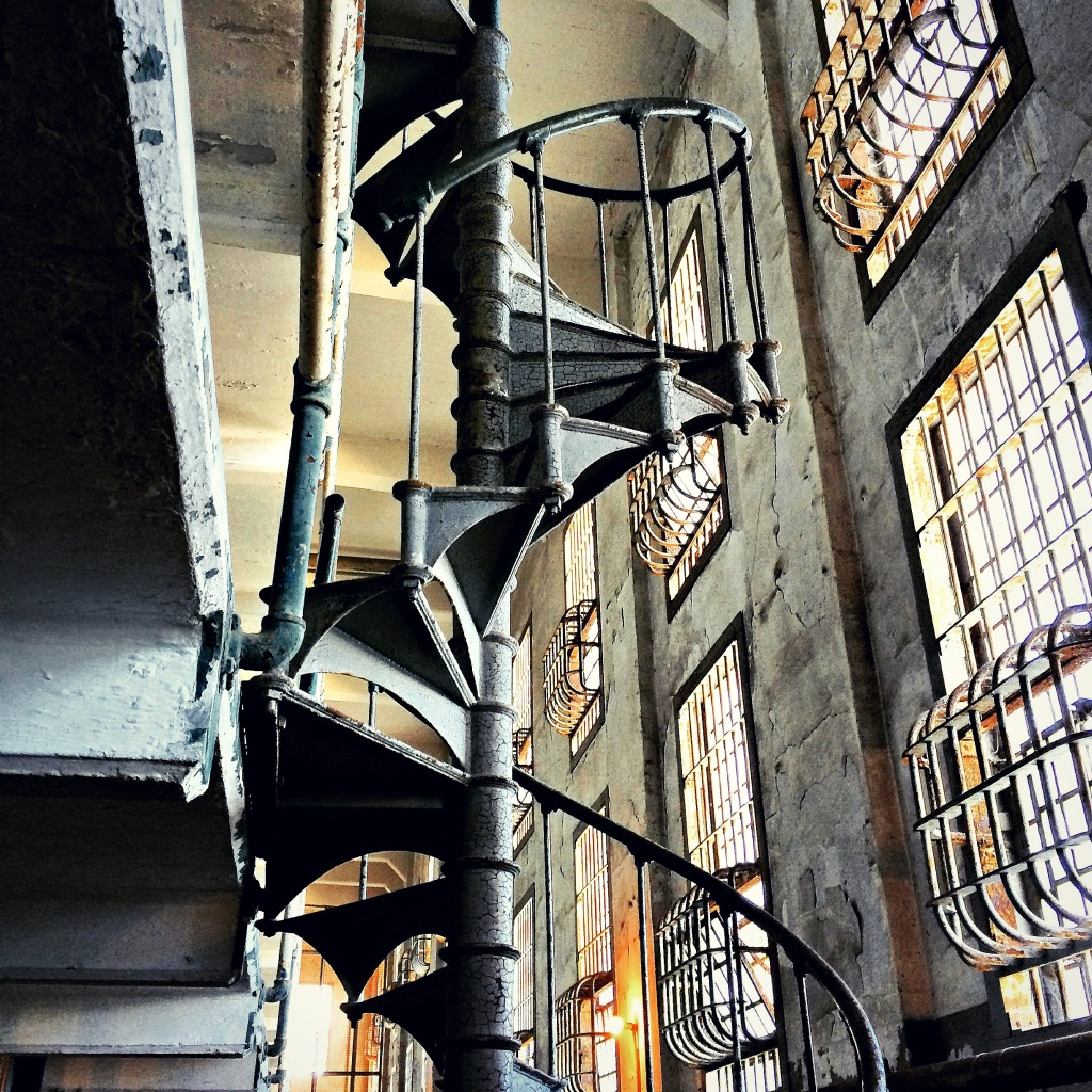 A staircase in the A Block of the Cellhouse on Alcatraz.