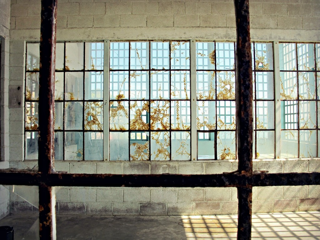 A set of windows in the New Industries Building, bringing in light.