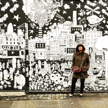 Cheri and black and white mural