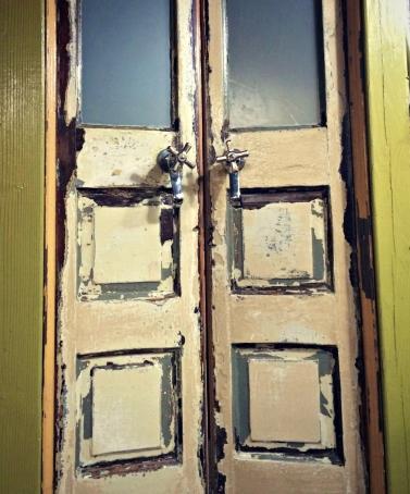The bathroom door in an Airbnb in Portland, Oregon.