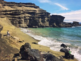 Papakōlea Green Sand Beach, one of four green sand beaches in the world. Stopped here during our drive from Captain Cook to Volcano.