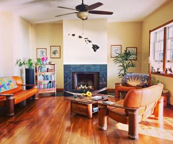 The living room of the main house at Ka'awa Loa Plantation.