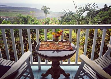 The view from the lanai of the main house at Ka'awa Loa Plantation in Captain Cook.