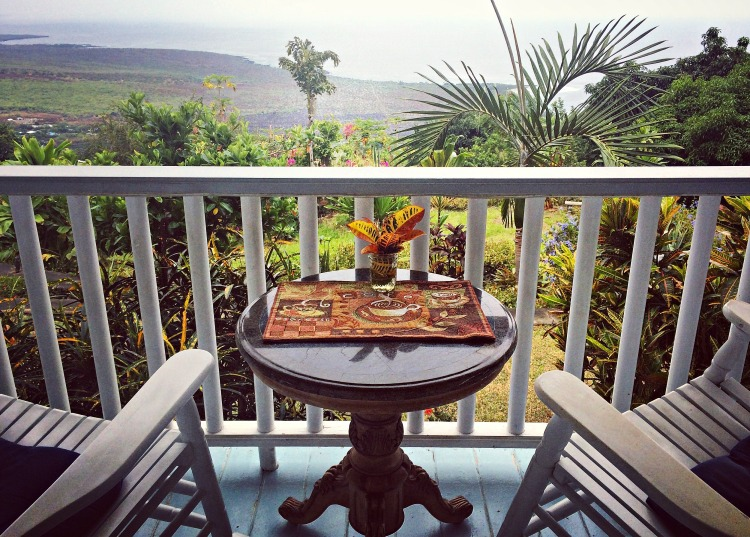The view from the lanai of the main house at Ka'awa Loa Plantation in Captain Cook.