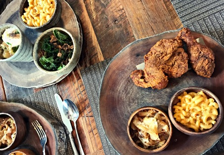 Lunch at Husk: fried chicken and sides.