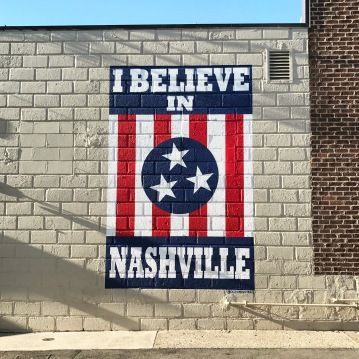 "The ""I Believe in Nashville"" mural just off of 12 Avenue South, next to Draper James."