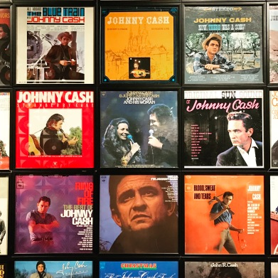 One of the walls in the Johnny Cash Museum in downtown Nashville.